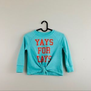 "Old Navy | Teal & Red ""Yay for Days"" Sweatshirt"